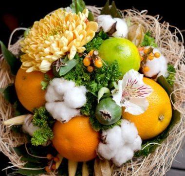 Букет с апельсинами и лаймом