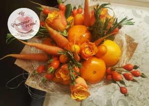 "Букет с мандаринами и молодой морковкой ""Оранжевое Солнце"" цена 2500р"