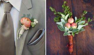 Необычные бутоньерки из фруктов и цветов