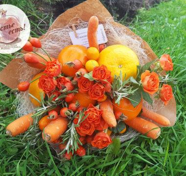Букет с мандаринами и молодой морковкой «Оранжевое Солнце» цена 2500р