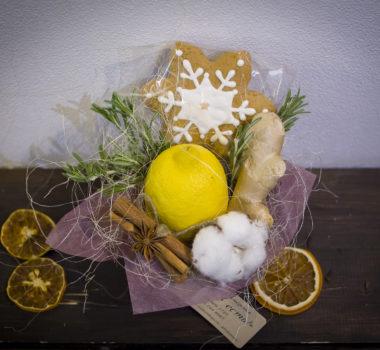 Маленький букет, комплимент, новогодний букет с лимоном цена 500р