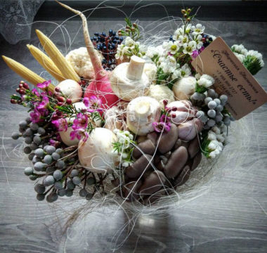 Необычный букет из овощей и грибов «БелосНежный» цена 3000р