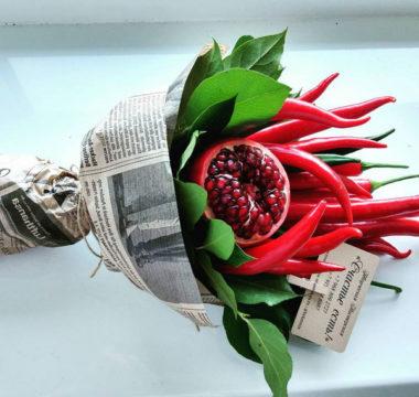 Букет с перцами и гранатом «ПреКрасный» цена 2800р