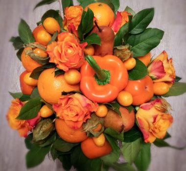 Букет с мандаринами и хурмой «Оранжевое Солнце 2» цена 3000р